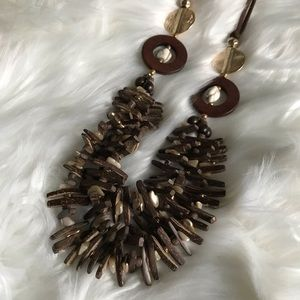 New Chico's Brown & Gold Necklace